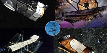 Collage of artist illustration of STScI missions
