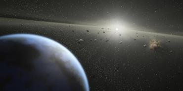 Artist's concept - massive asteroid belt in orbit around a star