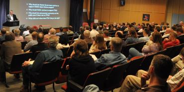Audience at a public lecture being given at STScI