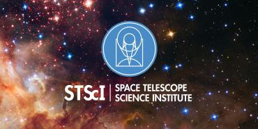 STScI logo against space background