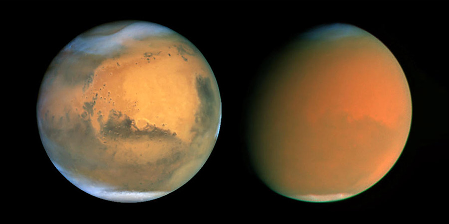 (L) Clear atmosphere of Mars. (R) Global dust storm engulfs the red planet.