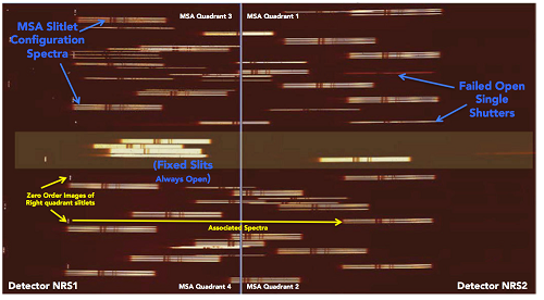 An example of NIRSpec MOS mode spectra