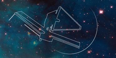 outline of JWST on star field background