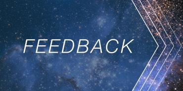 "'Feedback"" text on starry background"