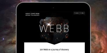 Image showing the redesigned WebbTelescope.org home page.