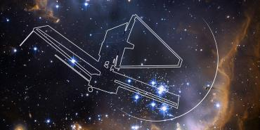Line drawing of JWST on a space background