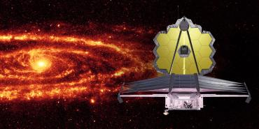 JWST in front of a glowing galaxy