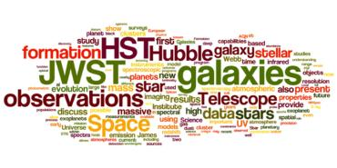 word bubble of words related to HST and JWST