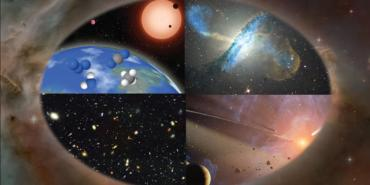 Artistic rendering of science concepts that could be explored by Origins Space Telescope