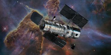 Artist concept of Hubble with Mystic Mountain Nebula in the visual spectrum