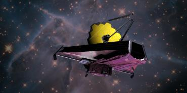 Artist concept of JWST with Infrared view of  Mystic Mountain Nebula