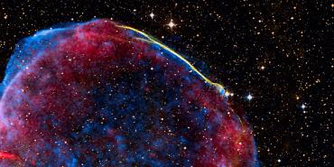 Composite of visible (or optical), radio, and X-ray data of the full shell of the supernova remnant from SN 1006