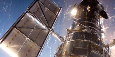 The Hubble Space Telescope in a picture snapped by a Servicing Mission 4 crewmember