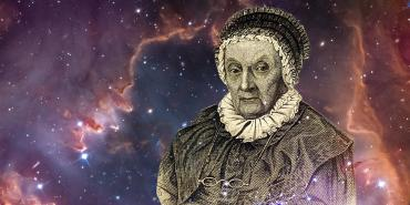 Caroline Herschel portrait with space background