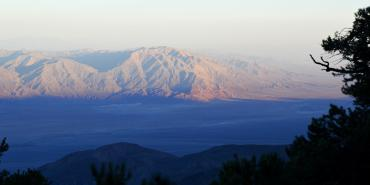 Photo from atop the Panamint Range looking down to the east towards Badwater Basin in Death Valley.