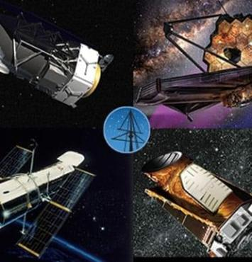 Collage of artistic illustrations of several telescopes and the MAST logo on a starry background