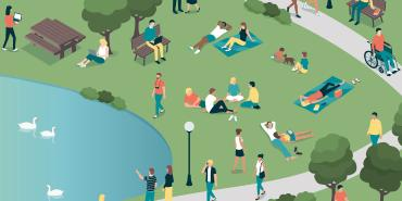 Illustration of groups of people at a park talking and enjoying the sun