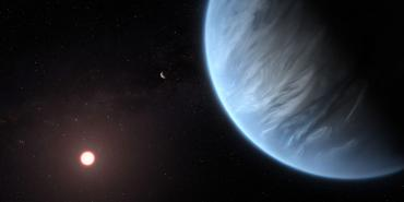 Close-up of an Earth-like exoplanet with clouds